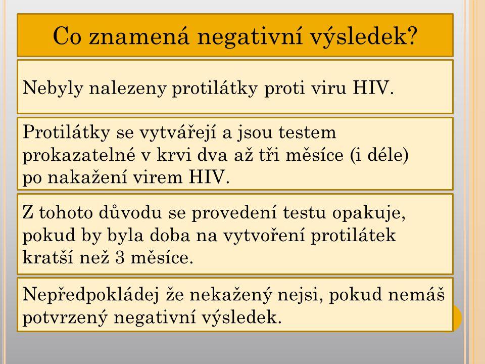 Co znamená negativní výsledek.Nebyly nalezeny protilátky proti viru HIV.