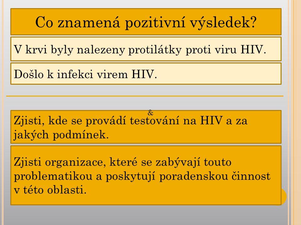 Co znamená pozitivní výsledek.V krvi byly nalezeny protilátky proti viru HIV.