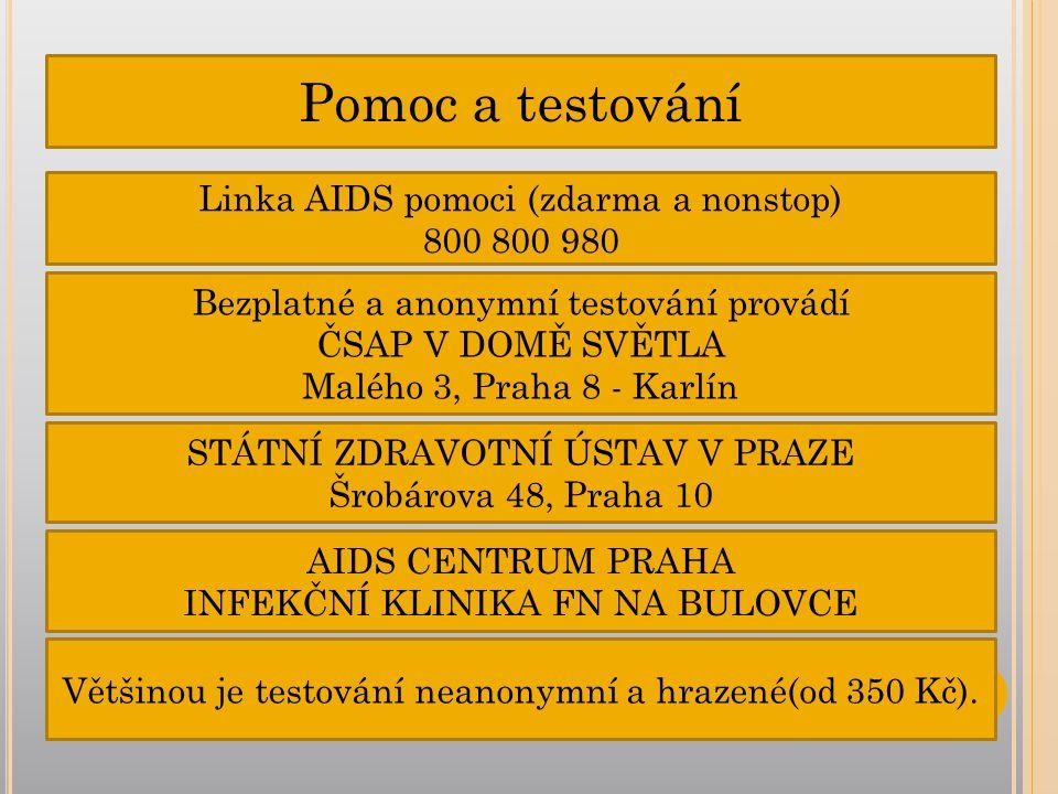 Pomoc a testování Linka AIDS pomoci (zdarma a nonstop) 800 800 980 Bezplatné a anonymní testování provádí ČSAP V DOMĚ SVĚTLA Malého 3, Praha 8 - Karlín STÁTNÍ ZDRAVOTNÍ ÚSTAV V PRAZE Šrobárova 48, Praha 10 AIDS CENTRUM PRAHA INFEKČNÍ KLINIKA FN NA BULOVCE Většinou je testování neanonymní a hrazené(od 350 Kč).