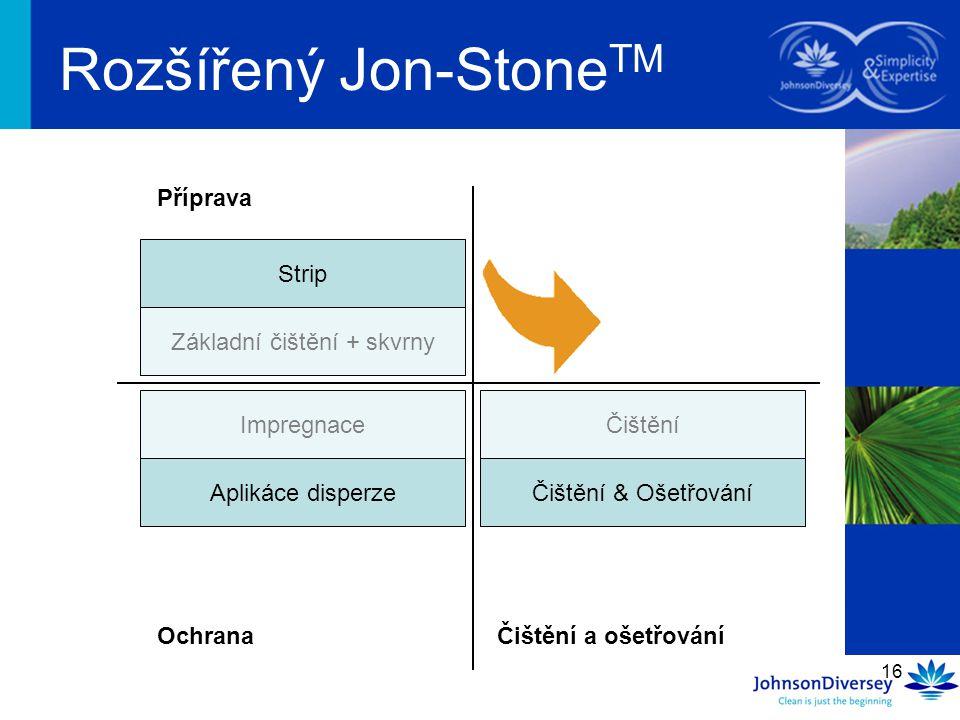16 Rozšířený Jon-Stone TM Základní čištění + skvrny Impregnace Čištění Příprava OchranaČištění a ošetřování Strip Aplikáce disperzeČištění & Ošetřován