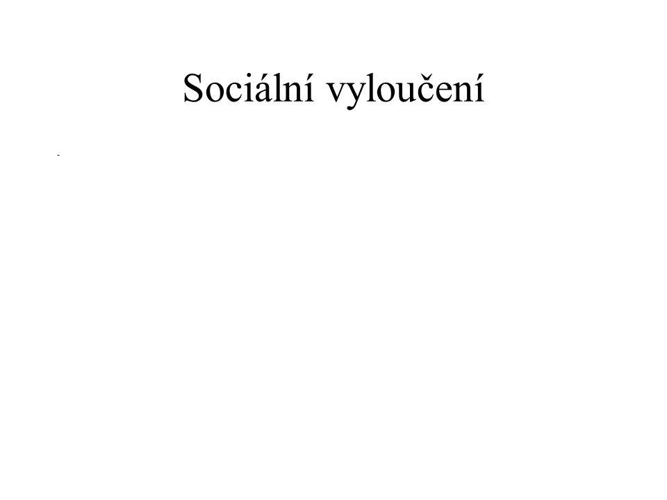 """Sociální vyloučení - definice """"Jde o komplexně podmíněnou nedostatečnou účast jednotlivce, skupiny nebo místního společenství na životě celé společnosti, resp."""