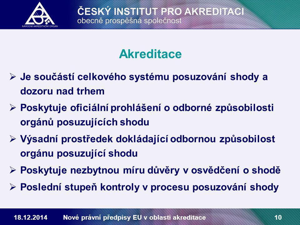 18.12.2014Nové právní předpisy EU v oblasti akreditace10 Akreditace  Je součástí celkového systému posuzování shody a dozoru nad trhem  Poskytuje oficiální prohlášení o odborné způsobilosti orgánů posuzujících shodu  Výsadní prostředek dokládající odbornou způsobilost orgánu posuzující shodu  Poskytuje nezbytnou míru důvěry v osvědčení o shodě  Poslední stupeň kontroly v procesu posuzování shody