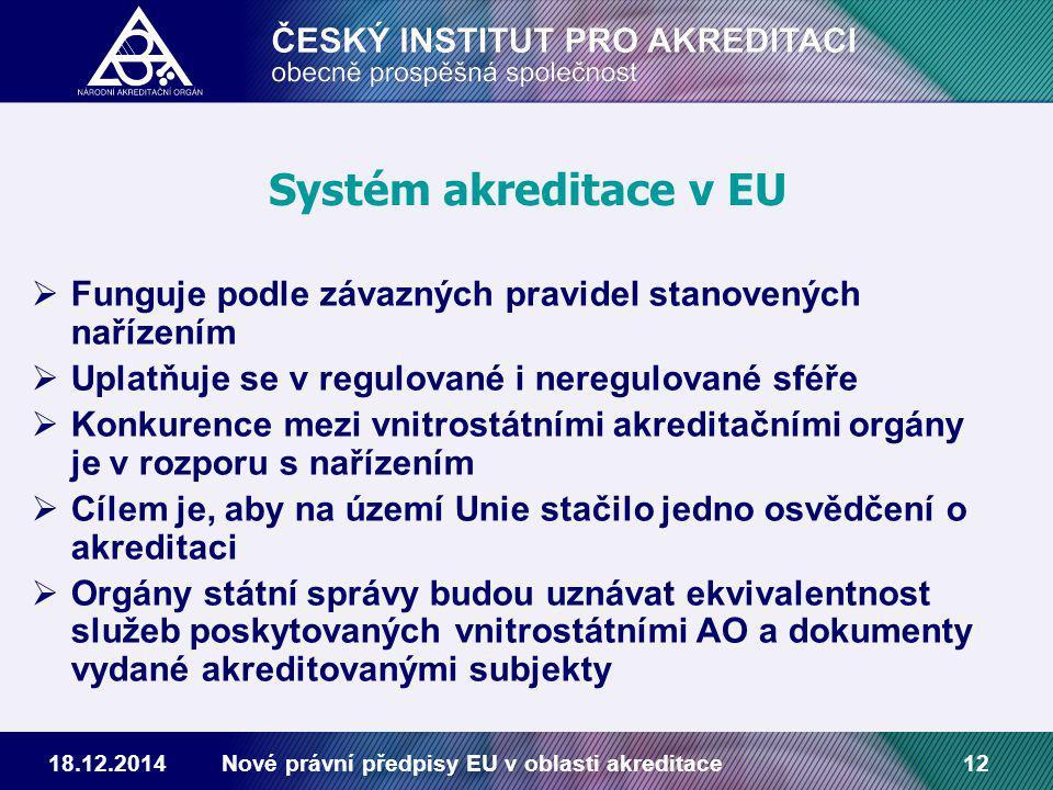 18.12.2014Nové právní předpisy EU v oblasti akreditace12 Systém akreditace v EU  Funguje podle závazných pravidel stanovených nařízením  Uplatňuje se v regulované i neregulované sféře  Konkurence mezi vnitrostátními akreditačními orgány je v rozporu s nařízením  Cílem je, aby na území Unie stačilo jedno osvědčení o akreditaci  Orgány státní správy budou uznávat ekvivalentnost služeb poskytovaných vnitrostátními AO a dokumenty vydané akreditovanými subjekty