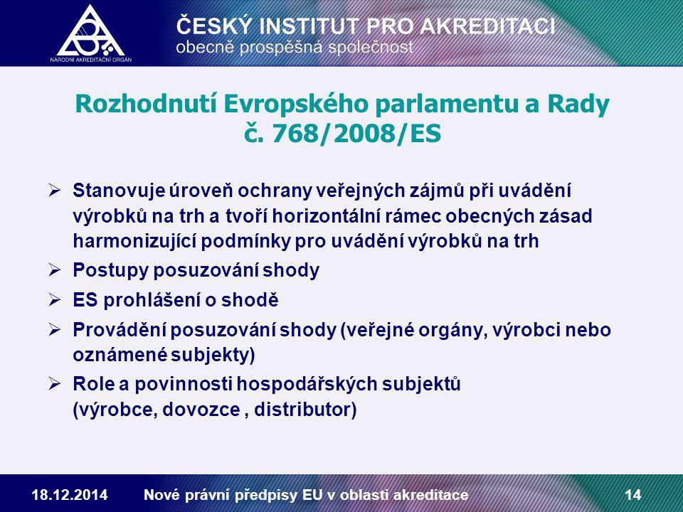 18.12.2014Nové právní předpisy EU v oblasti akreditace14 Rozhodnutí Evropského parlamentu a Rady č.