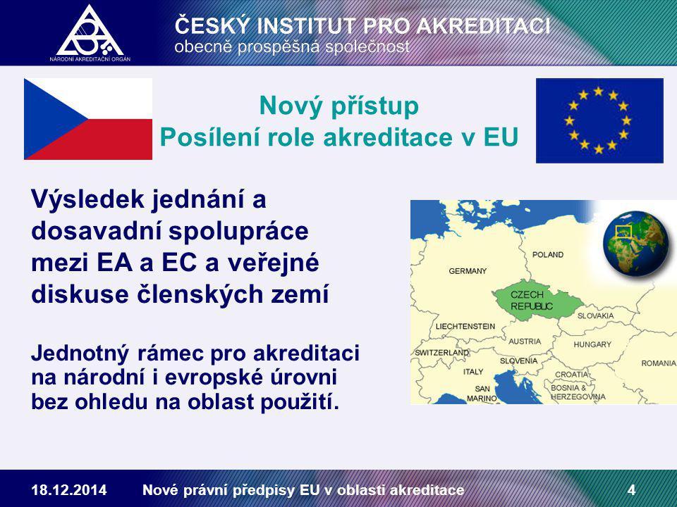 18.12.2014Nové právní předpisy EU v oblasti akreditace4 Nový přístup Posílení role akreditace v EU Výsledek jednání a dosavadní spolupráce mezi EA a EC a veřejné diskuse členských zemí Jednotný rámec pro akreditaci na národní i evropské úrovni bez ohledu na oblast použití.