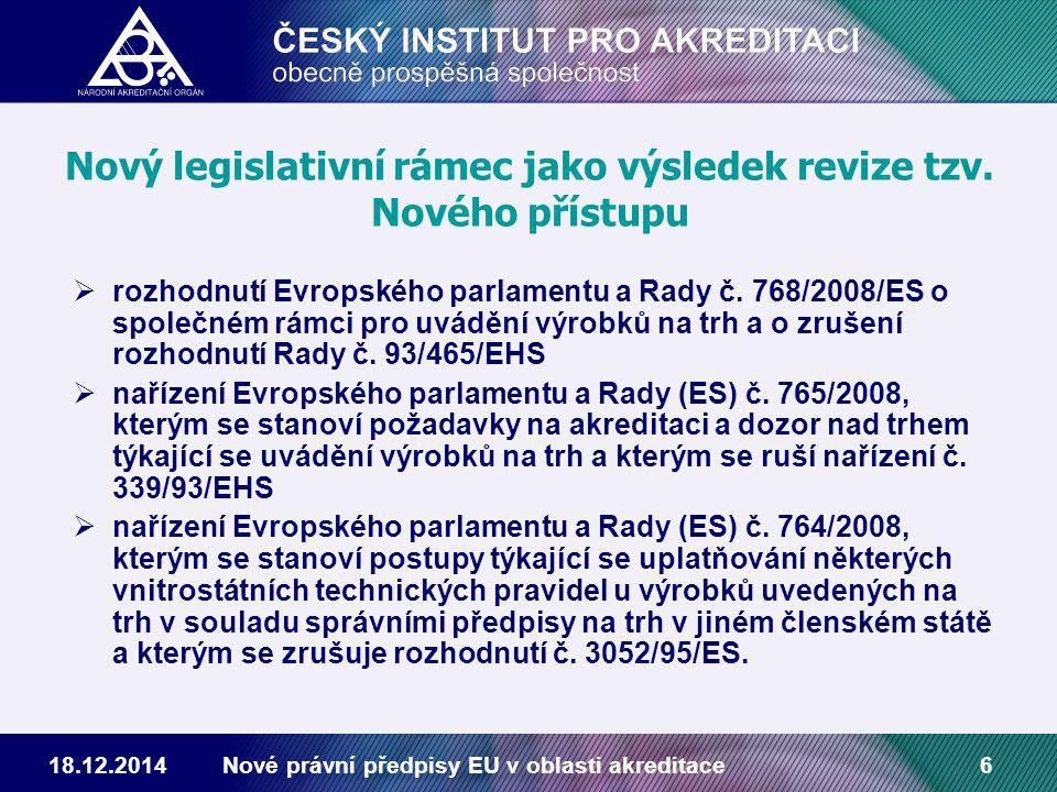 18.12.2014Nové právní předpisy EU v oblasti akreditace6 Nový legislativní rámec jako výsledek revize tzv.
