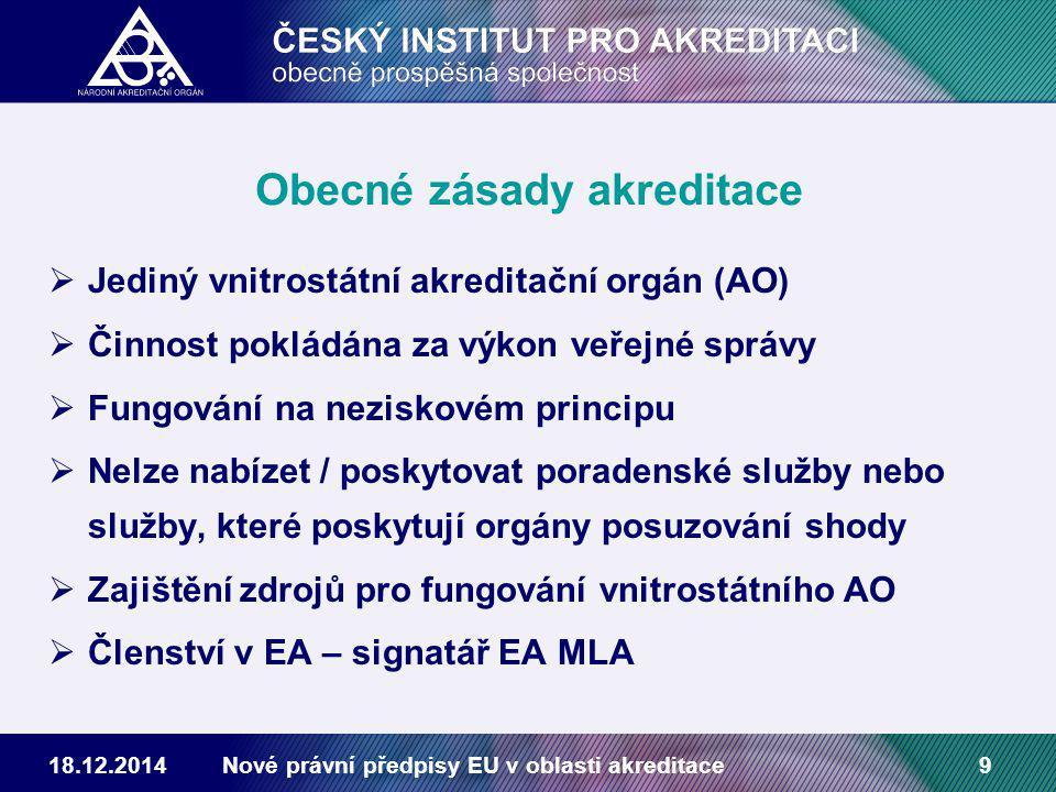18.12.2014Nové právní předpisy EU v oblasti akreditace9 Obecné zásady akreditace  Jediný vnitrostátní akreditační orgán (AO)  Činnost pokládána za výkon veřejné správy  Fungování na neziskovém principu  Nelze nabízet / poskytovat poradenské služby nebo služby, které poskytují orgány posuzování shody  Zajištění zdrojů pro fungování vnitrostátního AO  Členství v EA – signatář EA MLA