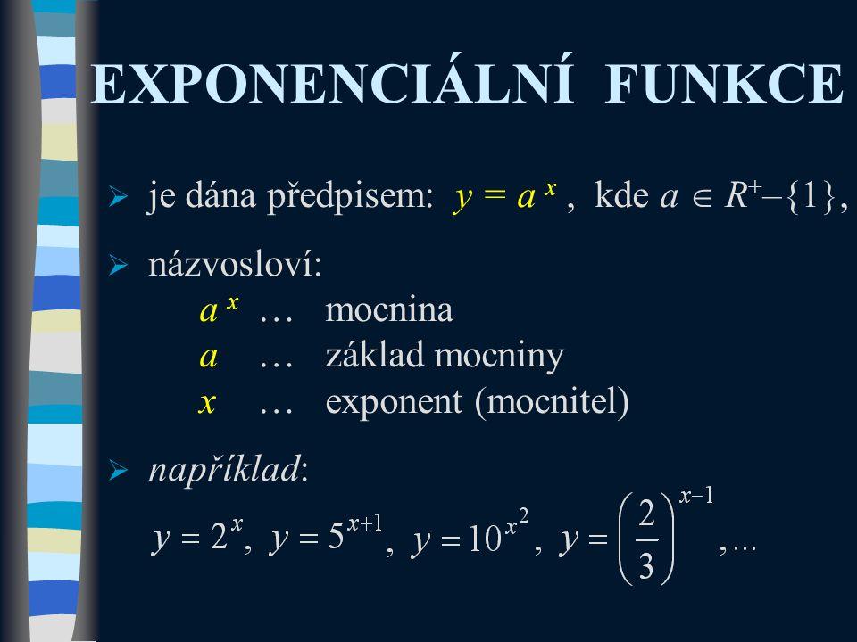 EXPONENCIÁLNÍ FUNKCE  je dána předpisem: y = a x, kde a  R + –{1},  názvosloví: a x …mocnina a…základ mocniny x…exponent (mocnitel)  například: