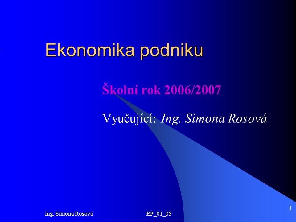 Ing. Simona Rosová EP_01_05 1 Ekonomika podniku Školní rok 2006/2007 Vyučující: Ing. Simona Rosová