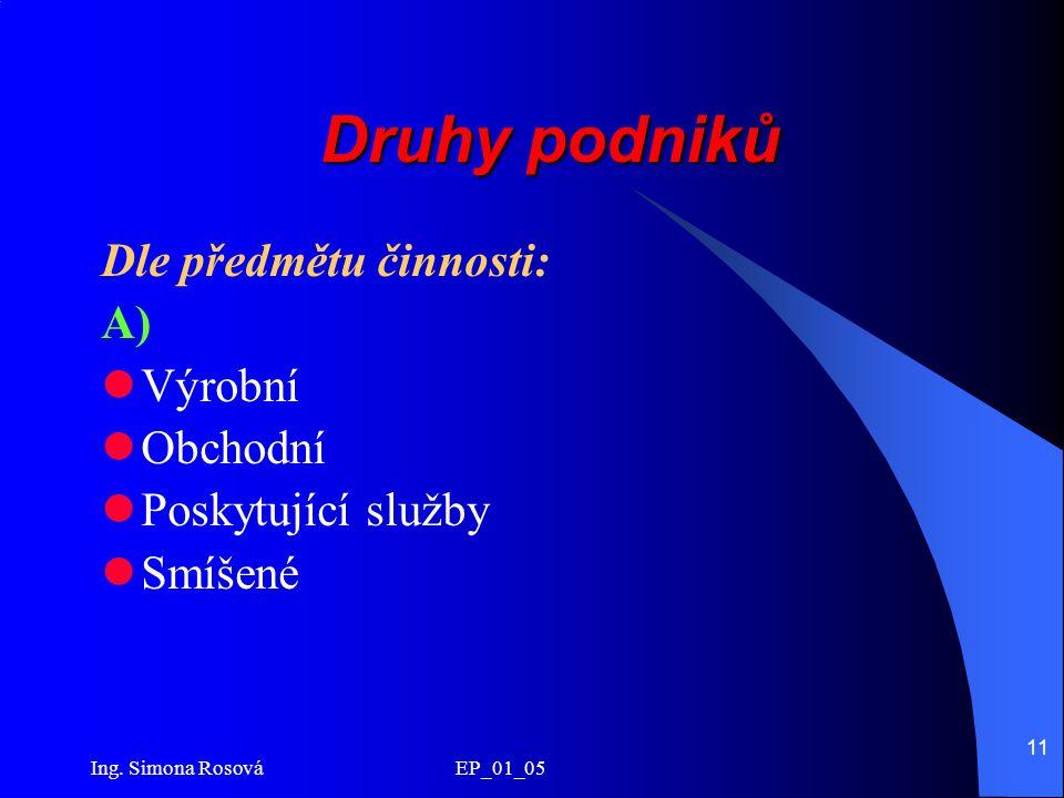 Ing. Simona Rosová EP_01_05 11 Druhy podniků Dle předmětu činnosti: A) Výrobní Obchodní Poskytující služby Smíšené