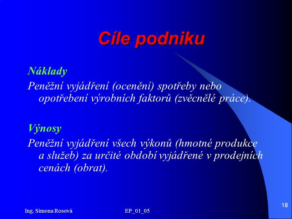 Ing. Simona Rosová EP_01_05 18 Cíle podniku Náklady Peněžní vyjádření (ocenění) spotřeby nebo opotřebení výrobních faktorů (zvěcnělé práce). Výnosy Pe
