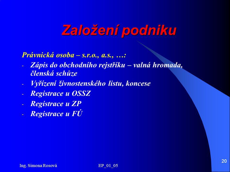 Ing. Simona Rosová EP_01_05 20 Založení podniku Právnická osoba – s.r.o., a.s., …: - Zápis do obchodního rejstříku – valná hromada, členská schůze - V