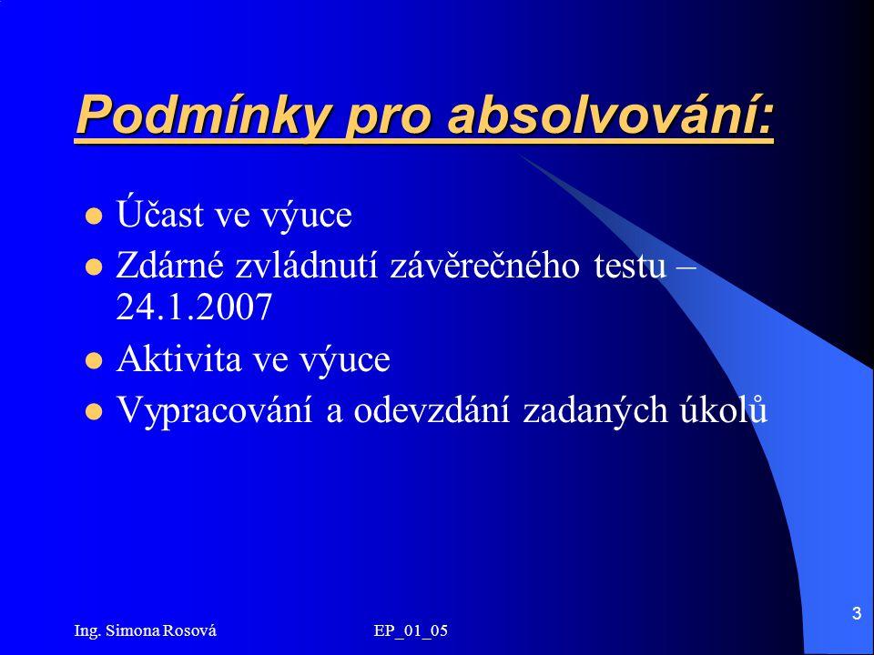 Ing. Simona Rosová EP_01_05 3 Podmínky pro absolvování: Účast ve výuce Zdárné zvládnutí závěrečného testu – 24.1.2007 Aktivita ve výuce Vypracování a