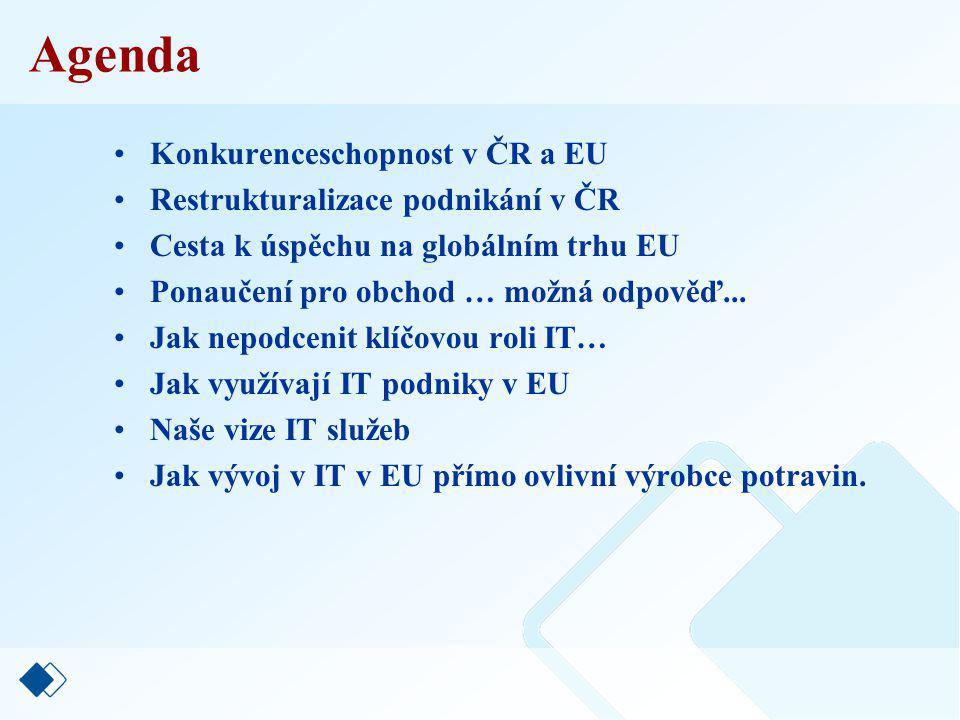 Agenda Konkurenceschopnost v ČR a EU Restrukturalizace podnikání v ČR Cesta k úspěchu na globálním trhu EU Ponaučení pro obchod … možná odpověď...
