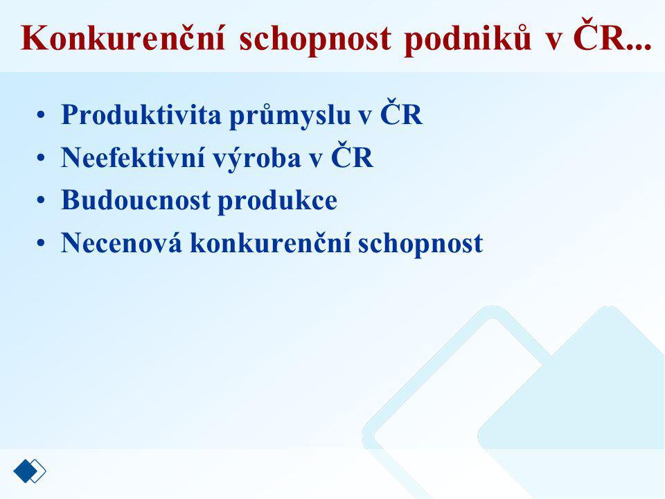 Restrukturalizace podnikání v ČR... Průmysl ČR 40 % na EU 20 % Služby ČR 24 % na EU 34 %