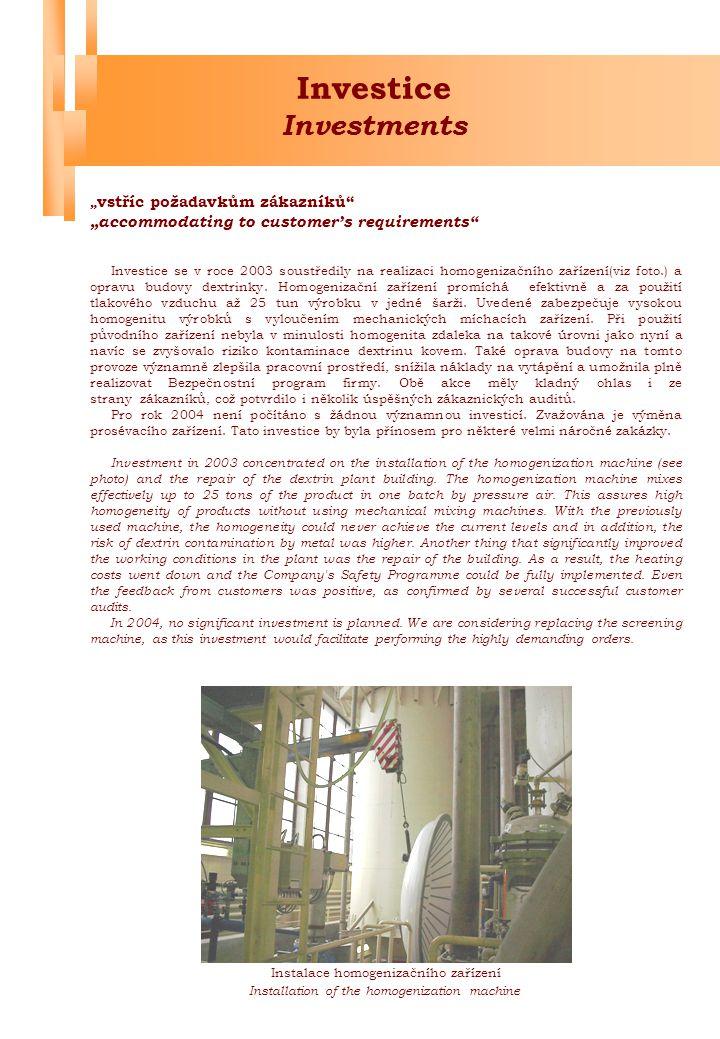 """Obchod Business """"naplnění potřeb zákazníků """"meeting customer's requirements Stejně jako v minulosti byla i v roce 2003 firma LYCKEBY AMYLEX, a.s."""