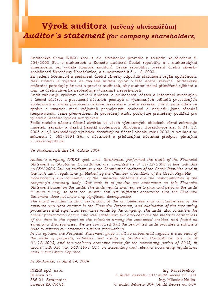 Výrok auditora (určený akcionářům) Auditor´s statement (for company shareholders ) Auditorská firma INEKS spol.