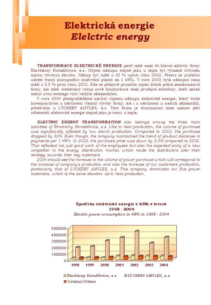 """Jakost Quality """"podmínka úspěchu u zákazníků """"the clue to success with customers Jakost vyráběného dextrinu byla v roce 2003 na velmi dobré úrovni, jak je již několik let ve firmě Škrobárny Horažďovice, a.s."""