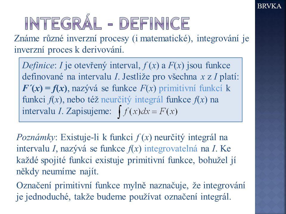 BRVKA Známe různé inverzní procesy (i matematické), integrování je inverzní proces k derivování.