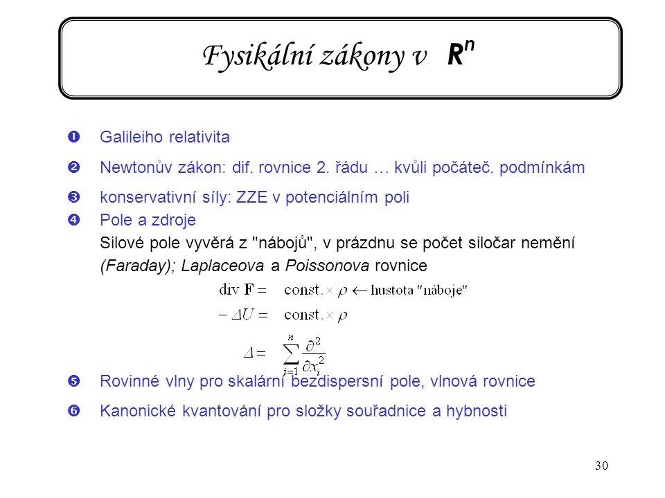 30 Fysikální zákony v R n ŒGalileiho relativita Newtonův zákon: dif. rovnice 2. řádu … kvůli počáteč. podmínkám Žkonservativní síly: ZZE v potenciáln