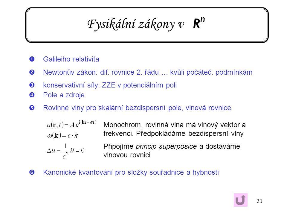 31 Fysikální zákony v R n ŒGalileiho relativita Newtonův zákon: dif. rovnice 2. řádu … kvůli počáteč. podmínkám Žkonservativní síly: ZZE v potenciáln