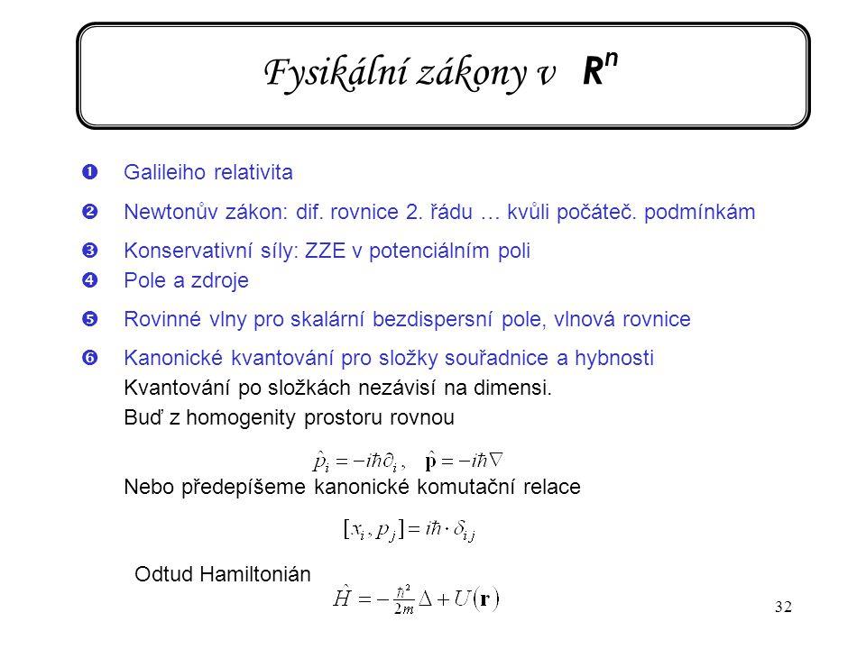 32 Fysikální zákony v R n Odtud Hamiltonián ŒGalileiho relativita Newtonův zákon: dif. rovnice 2. řádu … kvůli počáteč. podmínkám ŽKonservativní síly