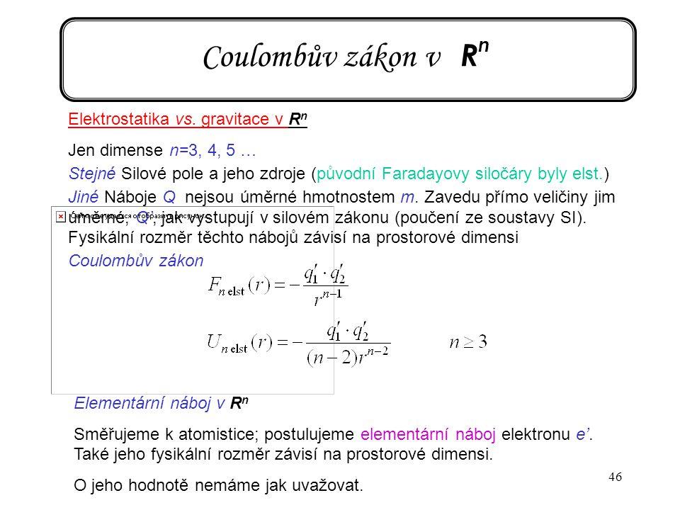 46 Coulombův zákon v R n Elektrostatika vs. gravitace v R n Jen dimense n=3, 4, 5 … Stejné Silové pole a jeho zdroje (původní Faradayovy siločáry byly