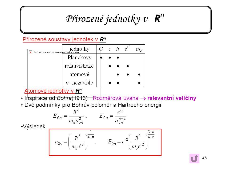 48 Přirozené jednotky v R n Přirozené soustavy jednotek v R n Atomové jednotky v R n Inspirace od Bohra(1913) Rozměrová úvaha  relevantní veličiny Dv