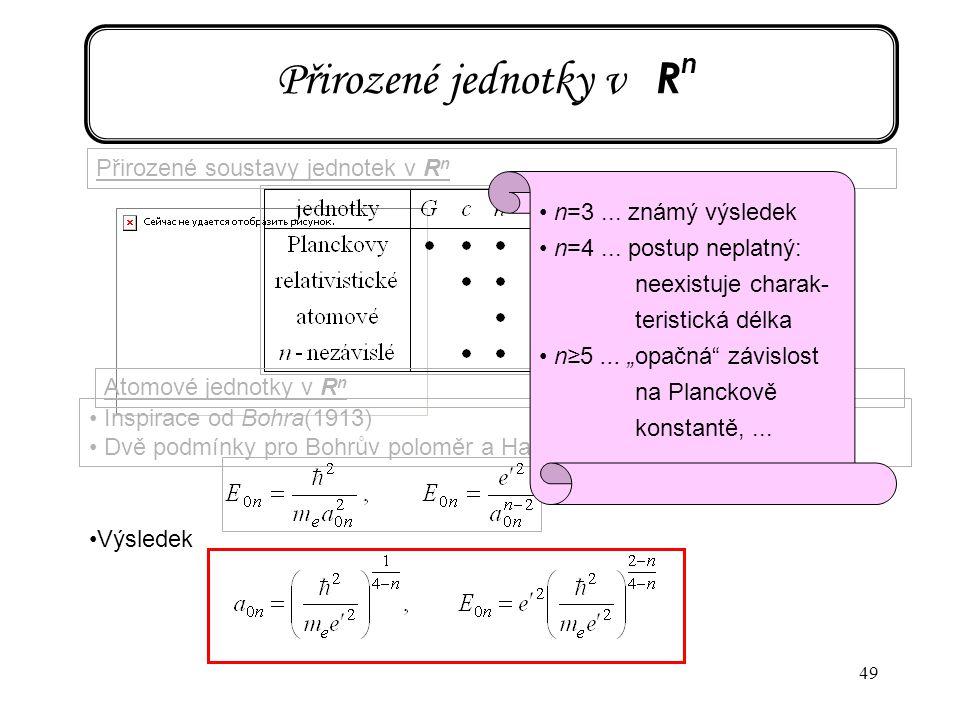 49 Přirozené jednotky v R n Přirozené soustavy jednotek v R n Atomové jednotky v R n Inspirace od Bohra(1913) Dvě podmínky pro Bohrův poloměr a Hartre