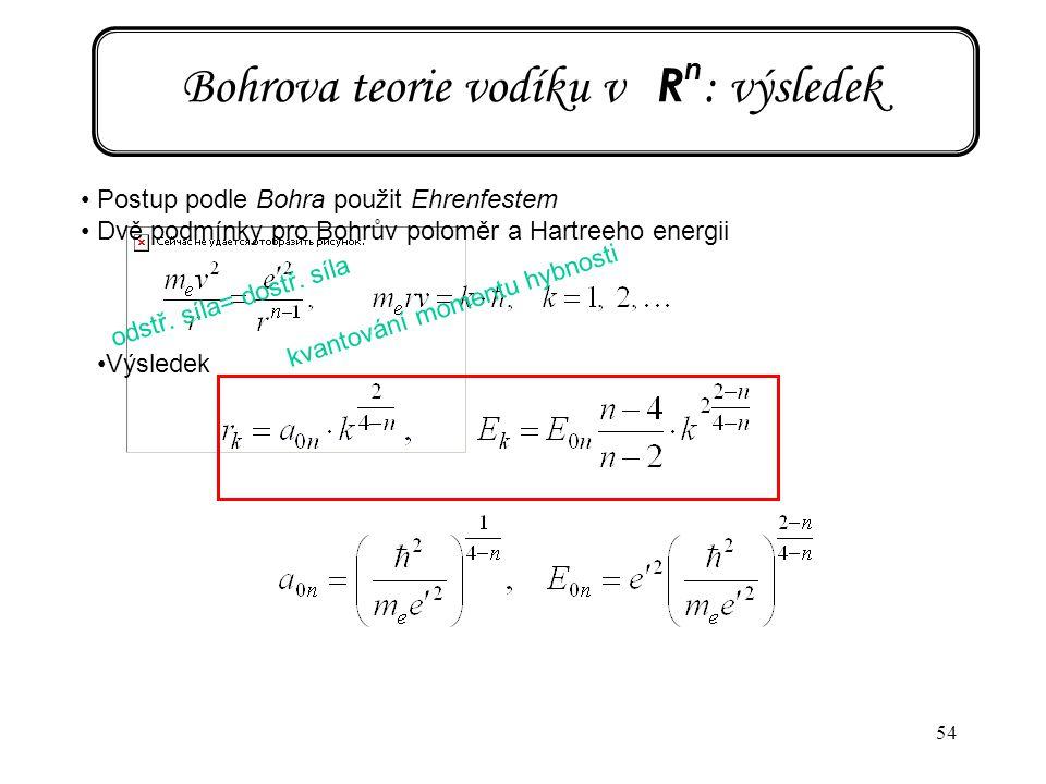 54 Bohrova teorie vodíku v R n : výsledek Postup podle Bohra použit Ehrenfestem Dvě podmínky pro Bohrův poloměr a Hartreeho energii Výsledek odstř. sí