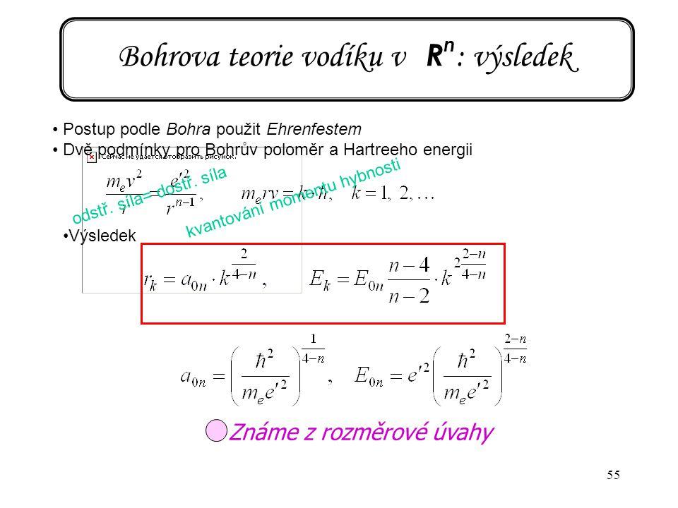 55 Bohrova teorie vodíku v R n : výsledek Postup podle Bohra použit Ehrenfestem Dvě podmínky pro Bohrův poloměr a Hartreeho energii Výsledek odstř. sí