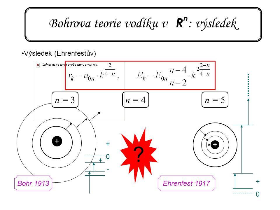 Bohrova teorie vodíku v R n : výsledek Výsledek (Ehrenfestův) n = 4n = 5 ? + + n = 3 +0+0 +0-+0- Bohr 1913Ehrenfest 1917