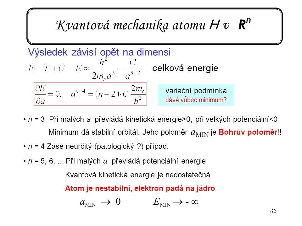 62 Kvantová mechanika atomu H v R n Výsledek závisí opět na dimensi n = 3 Při malých a převládá kinetická energie>0, při velkých potenciální<0 Minimum