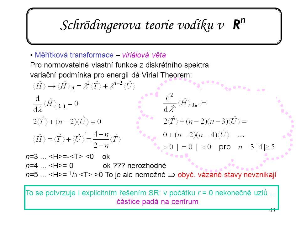 65 Schrödingerova teorie vodíku v R n Měřítková transformace – viriálová věta Pro normovatelné vlastní funkce z diskrétního spektra variační podmínka