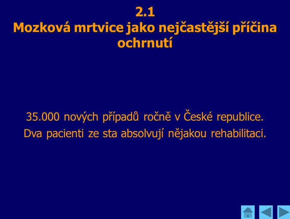 Mozková mrtvice jako nejčastější příčina ochrnutí 2.1 Mozková mrtvice jako nejčastější příčina ochrnutí 35.000 nových případů ročně v České republice.
