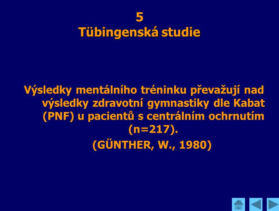 Tübingenská studie 5 Tübingenská studie Výsledky mentálního tréninku převažují nad výsledky zdravotní gymnastiky dle Kabat (PNF) u pacientů s centráln