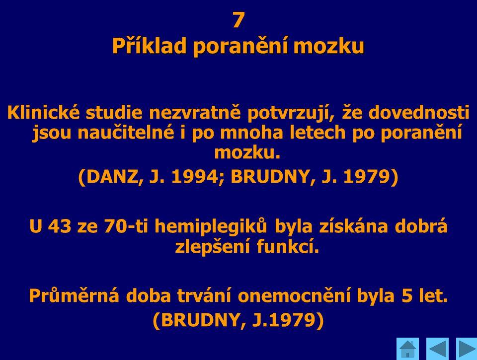 Příklad poranění mozku 7 Příklad poranění mozku Klinické studie nezvratně potvrzují, že dovednosti jsou naučitelné i po mnoha letech po poranění mozku