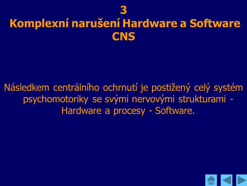 3 Komplexní narušení Hardware a Software CNS Následkem centrálního ochrnutí je postižený celý systém psychomotoriky se svými nervovými strukturami - H