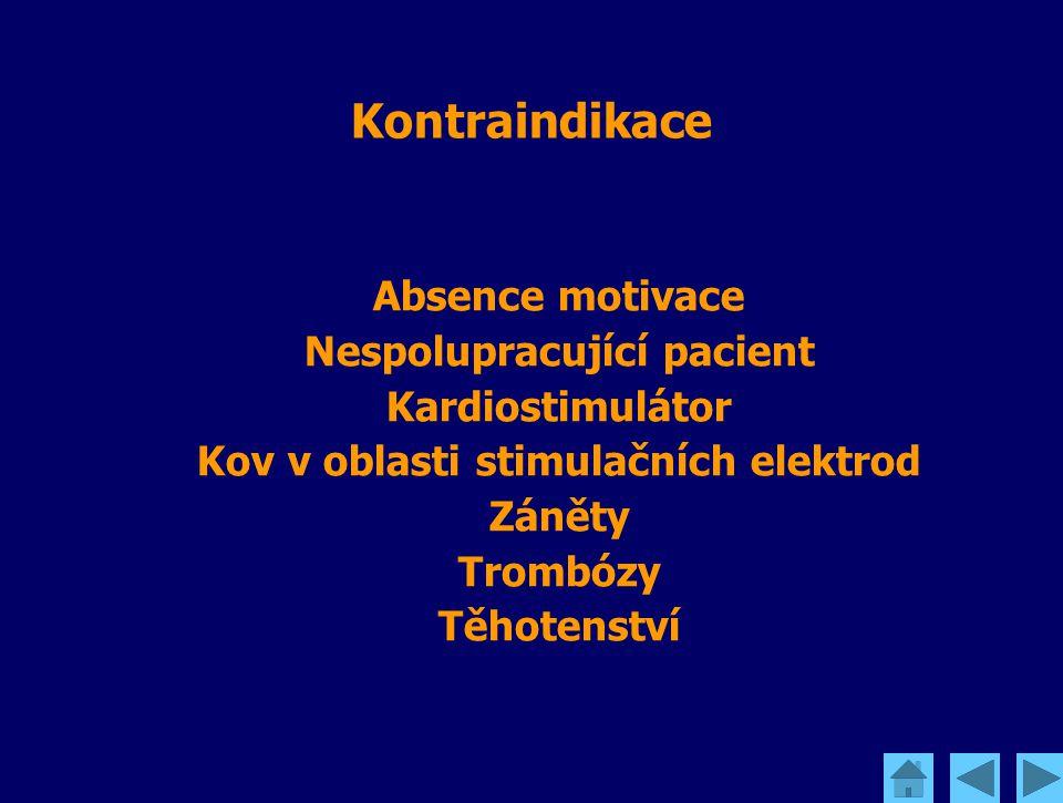 Kontraindikace Absence motivace Nespolupracující pacient Kardiostimulátor Kov v oblasti stimulačních elektrod Záněty Trombózy Těhotenství