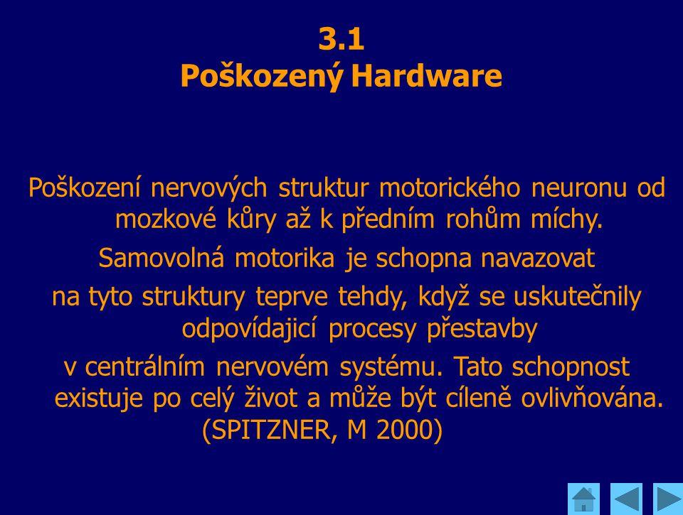 3.1 Poškozený Hardware Poškození nervových struktur motorického neuronu od mozkové kůry až k předním rohům míchy. Samovolná motorika je schopna navazo