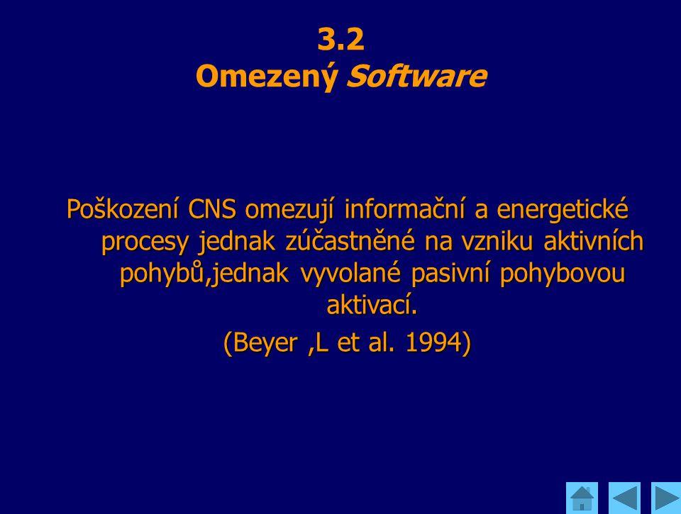 3.2 Omezený Software Poškození CNS omezují informační a energetické procesy jednak zúčastněné na vzniku aktivních pohybů,jednak vyvolané pasivní pohyb