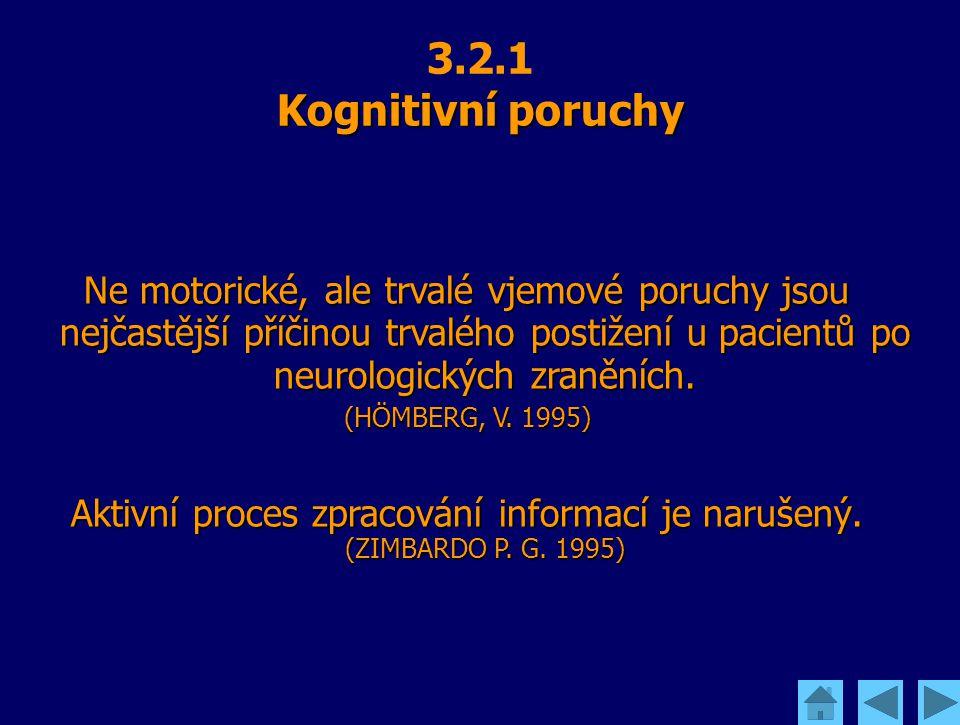 Kognitivní poruchy 3.2.1 Kognitivní poruchy Ne motorické, ale trvalé vjemové poruchy jsou nejčastější příčinou trvalého postižení u pacientů po neurol