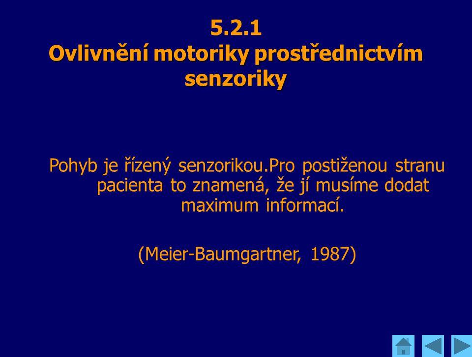 Ovlivnění motoriky prostřednictvím senzoriky 5.2.1 Ovlivnění motoriky prostřednictvím senzoriky Pohyb je řízený senzorikou.Pro postiženou stranu pacie