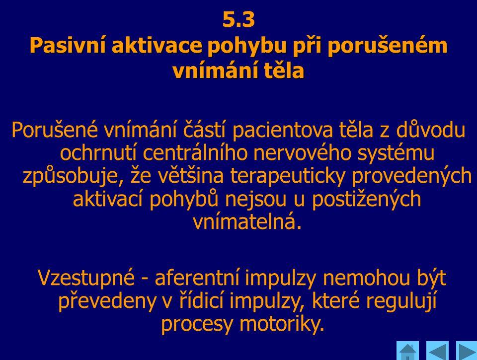 Pasivní aktivace pohybu při porušeném vnímání těla 5.3 Pasivní aktivace pohybu při porušeném vnímání těla Porušené vnímání částí pacientova těla z dův