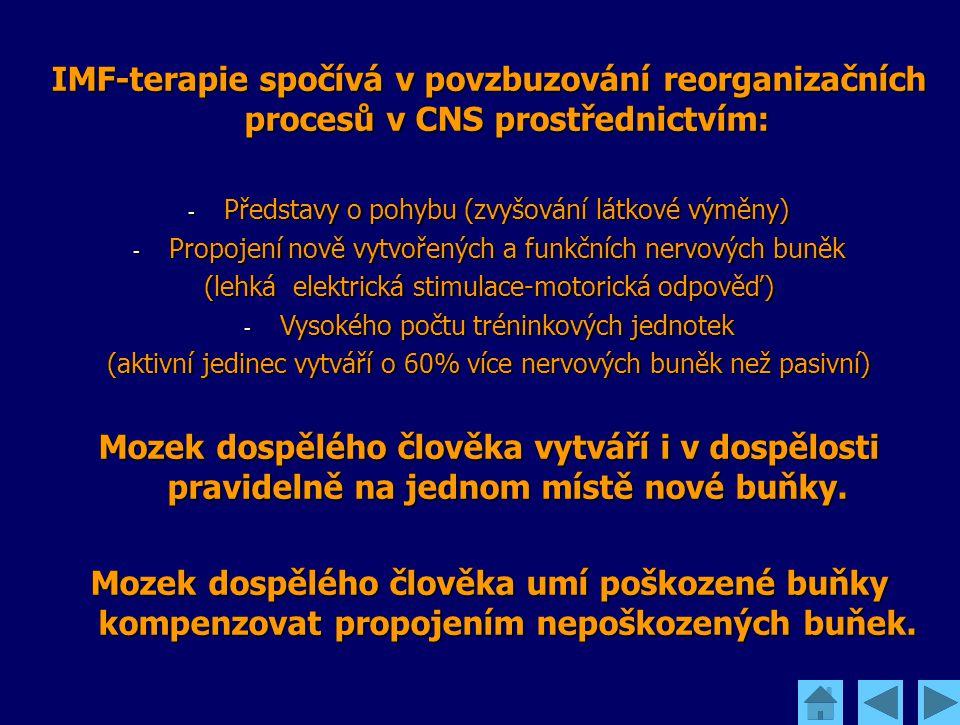 IMF-terapie spočívá v povzbuzování reorganizačních procesů v CNS prostřednictvím: - Představy o pohybu (zvyšování látkové výměny) - Propojení nově vy