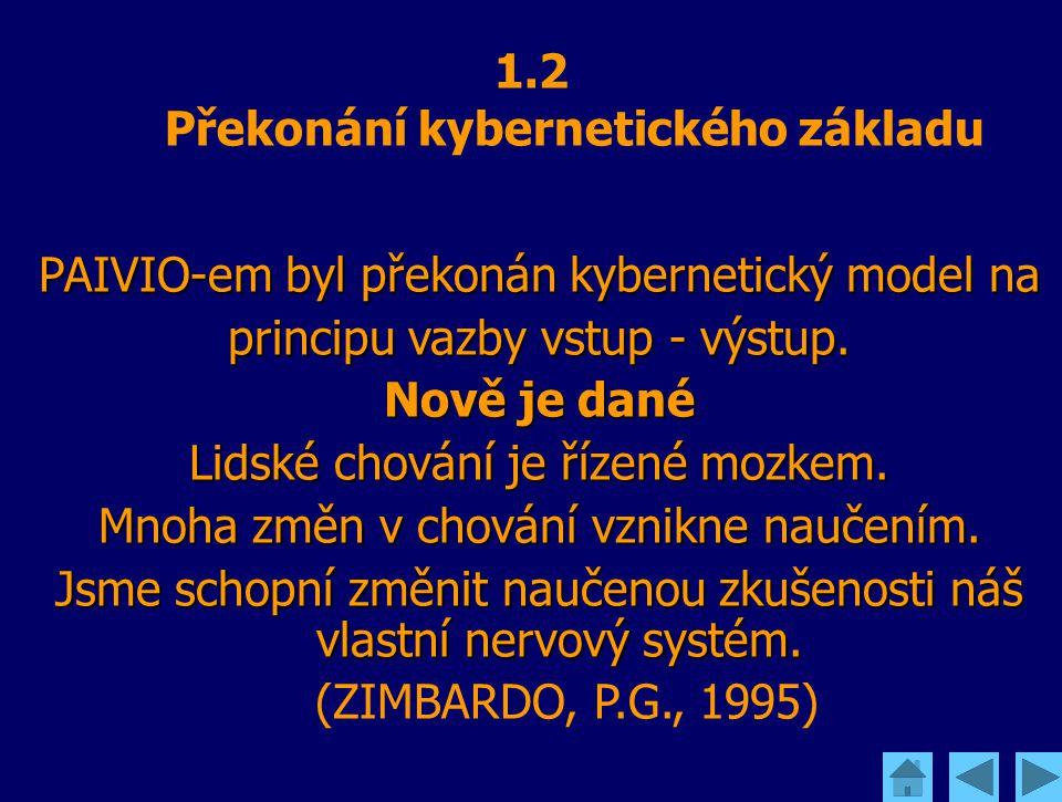 1.2 Překonání kybernetického základu PAIVIO-em byl překonán kybernetický model na principu vazby vstup - výstup. Nově je dané Lidské chování je řízené