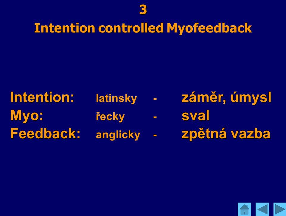 3 Intention controlled Intention controlled Myofeedback Intentionzáměr, úmysl Intention: latinsky - záměr, úmysl Myosval Myo: řecky - sval Feedbackzpě