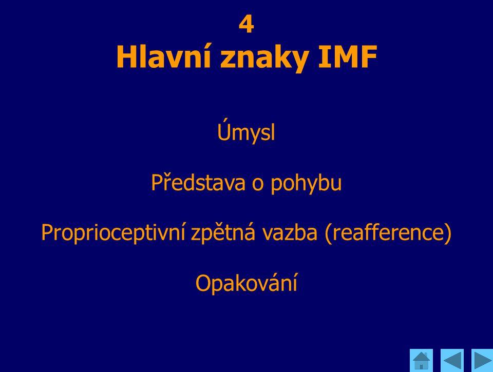 4 Hlavní znaky IMF Úmysl Představa o pohybu Proprioceptivní zpětná vazba (reafference) Opakování