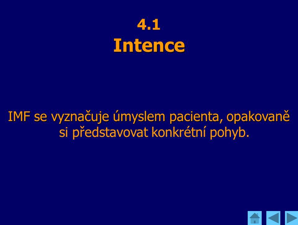 Intence 4.1 Intence IMF se vyznačuje úmyslem pacienta opakovaně IMF se vyznačuje úmyslem pacienta, opakovaně si představovat konkrétní pohyb.