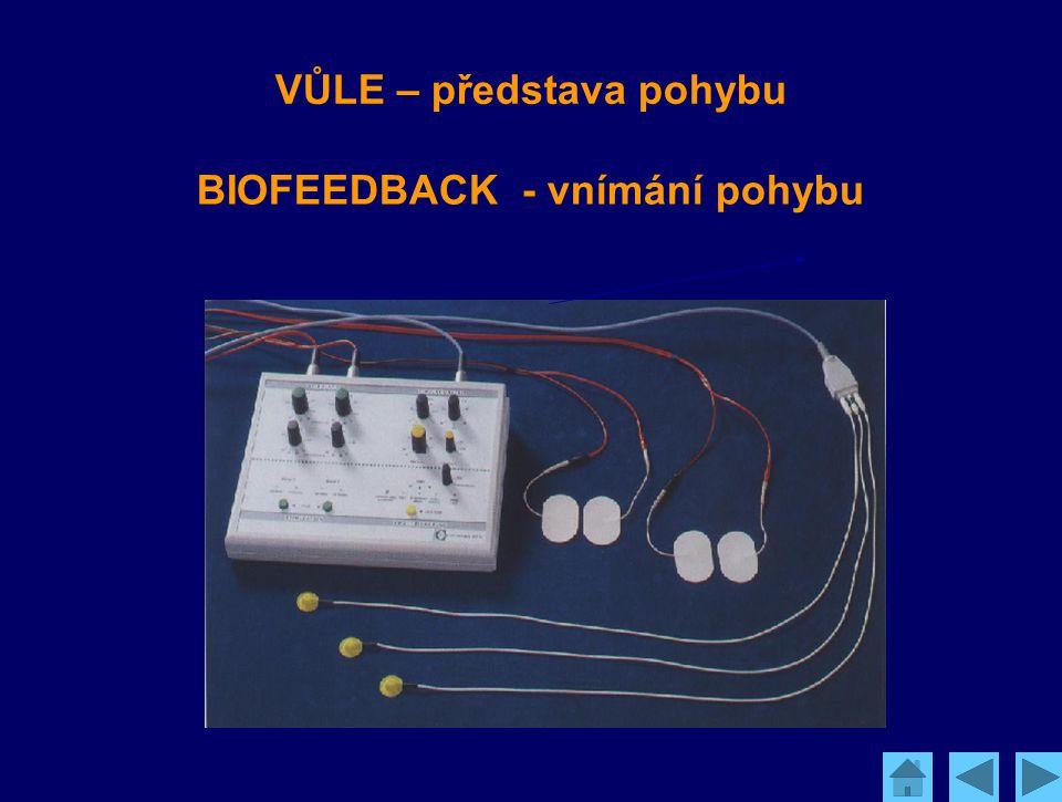 Kausální propojení: VŮLE – představa pohybu BIOFEEDBACK - vnímání pohybu